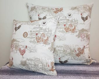 """Rooster print pillow cover, rooster pillow, rooster cushion, 45cm square, rooster upholstery fabric, pillow sham, 18"""", rooster fabric,"""