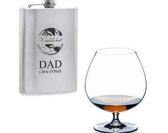 World's Best Dad Stainless Steel Hip Flask - Silver Coloured Men's Hip Flask - Personalized Hip Flask for Dad - Laser Engraved Hip Flask
