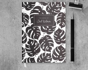 Tropical Notebook Journal Personalized Gift for Him, Black and White Art Notebook, Travel Journal Diary, Custom Sketchbook Gift for Her