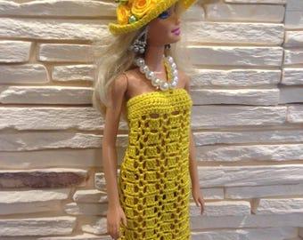 Crochet Barbie clothes, Crochet barbie dress, Barbie summer dress, Barbie yellow dress, Barbie clothing, Doll dress