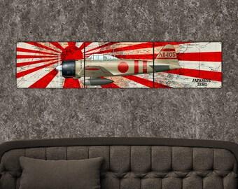 "Japanese Zero, 1-3 Day SHIPPING, Free Shipping, WW2,Airplane, Metal Triptych 12""x54"", Metal Art"