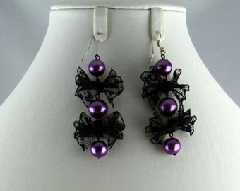 Purple earrings Black Lace bow and pearls
