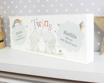 Elephant twins etsy personalised elephant twins wooden name block sign birth announcement new baby twins gift idea christening baptism negle Choice Image