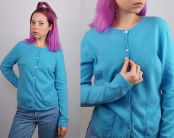 Vintage 90's Cashmere Cardigan / Jumper / Sweater in Blue| Size M-L