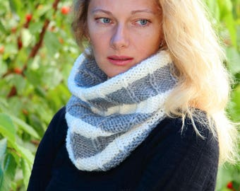 Striped scarf gray neck warmer wool knit scarf wool neck wrap hipster scarf neck gaiter ski neck warmer ski scarf neck tube snowboard gaiter