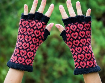 Alpaca wool gloves Half finger gloves Womens clothing black and red heart glove fingerless glove valentines day gift|for|her valentines gift