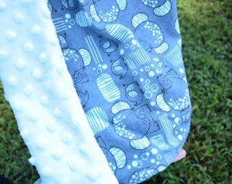 Baby Blanket Elephant Nursery Boy Safari Infant Dumbo Crib Bedding Navy and Light blue Tummy Time Blanket Newborn Gif