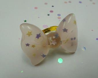 Peachy Resin Bow Ring