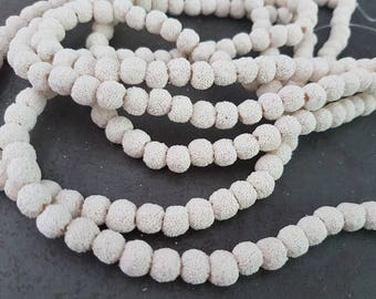 51 white lava 8 mm beads