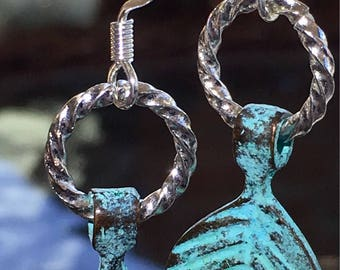Bronze Patina Leaf Earrings with silver plate hook wires