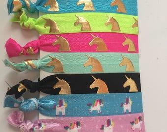 Unicorn Hair Ties | Lularoe Hair Ties | LLR | Gold Foil Hair Ties | Fold Over Elastic Ties | Hair Ties | FOE