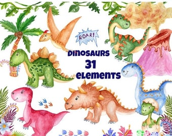 "SALE30% Watercolor Dinosaur Clipart: ""CUTE DINOSAUR"" Kids clipart dinosaur party invites Dino clipart  Invitation clipart T Rex Prehistoric"