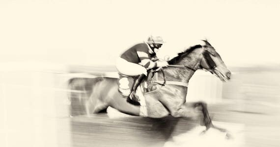 """Horse Racing Prints, """"Day At The Races"""", Horse Prints, Equine Prints, Black and White Prints, Horse Jumping Art, Animal Prints."""
