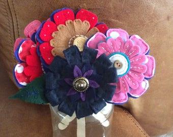 Handmade felt button flower brooches