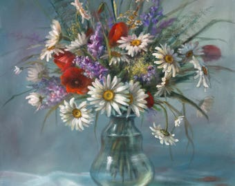 Camomile / daisies - wild flowers in a vase; A bouquet in a vase