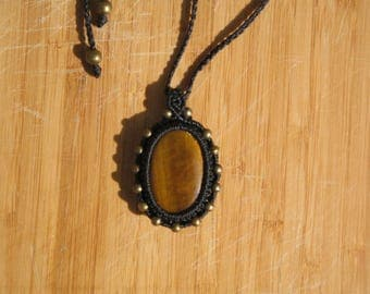 macrame necklace with semi precious Tiger eye stone