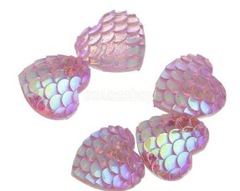 Mermaid Hearts, Pink Mermaid, Snake Hearts, Sparkly Hearts, Sparkly Flatbacks, Fish Scale, Heart Kawaii, Pink Hearts, 12mm