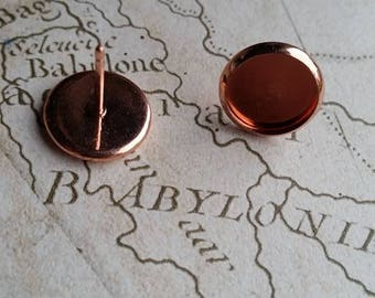 Cabochon Earrings, Earring Bezels, Earring Cups, Rose Gold Earrings, Rose Gold, 12mm Bezel, 10mm Bezel, Cabochon Tray, Earring Trays, Blanks