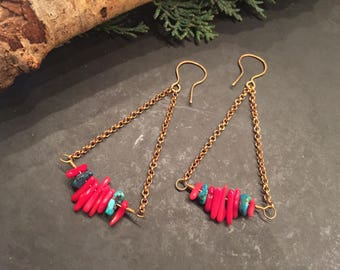 Power Colors ~ Red Coral & Turquoise Earrings | Bohemian Stone Dangles