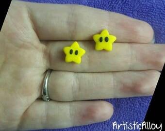 Mario Super Star Earrings Polymer Clay, cute, gift