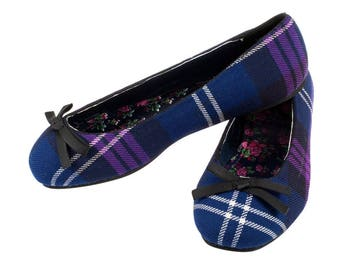 Pride of Scotland/Bannockburn or Royal Stewart Tartan ballerinas weddings, scottish style , tartan, prom , wedding