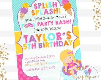 Sweet Shoppe Ice Cream Party Pool Party, Ice Cream and Pool Party Bash Invitation, YOU CHOOSE Hair Color