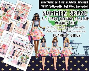 Summer Spade Weekly Planner Stickers / Erin Condren weekly kit / Happy Planner weekly kit / Printable Planner Stickers /Silhouette Cut Files