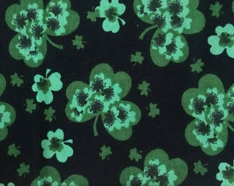 """Tie Dye Shamrocks on black fabric -  44"""" wide, 100% cotton - St Patricks day fabric - holiday fabric - quilting fabric - By the half yard"""
