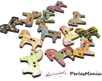 10 buttons colored wooden horse ref H1114, DIY