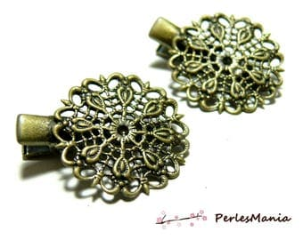 2 hair pins flower lace 2M 3131 BRONZE Alligator Clip