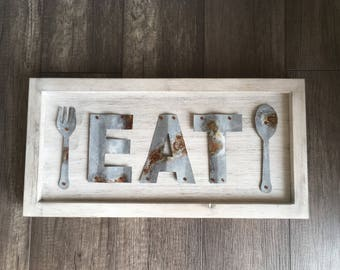 "Rustic Metal ""Eat"" Sign, Fork & Spoon, Kitchen Decor, Dining Room Decor, Restaurant Decor"