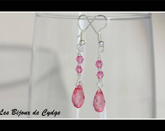 Earrings and its drop dark pink with the tops