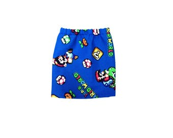 Pencil Skirt, Mini Skirt, Super Mario, Royal Blue, Red, Green, White, Fits dolls such as AG, Wellie Wishers, 14 inch Doll Clothes, 14.5
