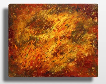 """Abstract oil on canvas painting. Table """"Healing"""". Knife painting. Contemporary abstract art. fall colors"""