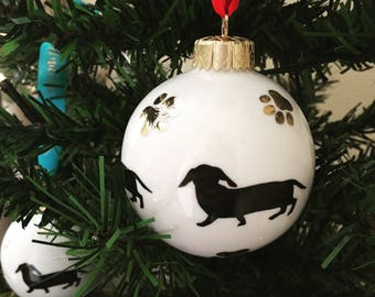 Dachshund Ceramic Bauble with 24ct gold detail