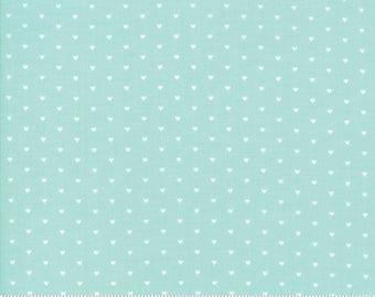 "Moda ""The Good Life"" by Bonnie and Camille ~ WHOLE HEART ~ Aqua 55154 22  ~ Tiny Hearts ~ Half Yard Increments"