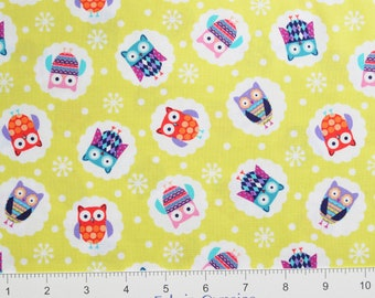 "Studioe ""Wings-N-Things"" ~ Owls 3095-64~ Tossed OWLS on Lime Green ~  By The Half Yard ~"