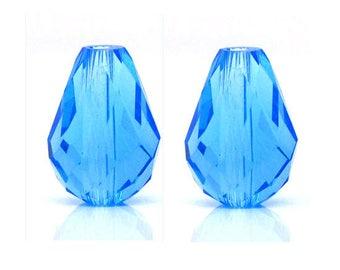 set of 4 blue faceted beads form drop Crystal quartz 11 mm x 8 mm