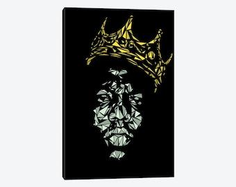Biggie Smalls Art Print, Notorious BIG, Sky's The Limit Notorious B.I.G. Gold Crown Canvas Wall Art Decor, Rap Hip Hop Music Poster Gift