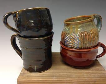 Mismatched set, handmade mugs, set of 4 (16112)