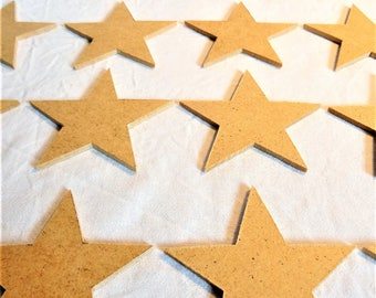 set of 10 natural wood fiber Christmas decorations, Star, paint, decorate, scrapbooker, to hang on the Christmas tree