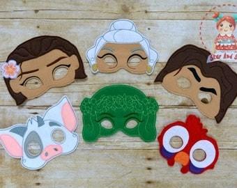 Moana Inspired Masks Maui Pua Hei Hei Te Fiti Birthday Party Idea
