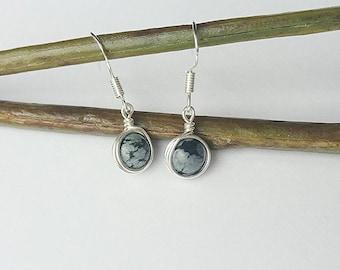 Snowflake obsidian earrings, drop earrings, gemstone earrings, simple earrings, gifts for her, silver earrings, inspirational jewellery