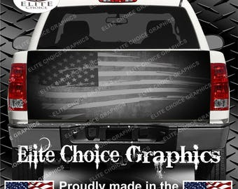 Tattered American Flag Truck Tailgate Wrap Vinyl Graphic Decal Sticker Wrap