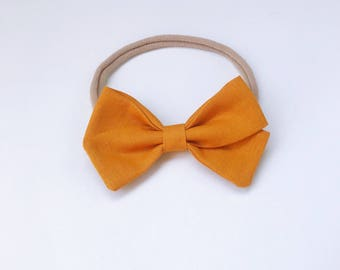 Charley - mustard butterscotch signature bow heaband