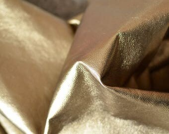 Gold Natural Italian Leather , 8-9 sq ft  95cmx70cm , Thickness:0,8-0,9 mm  , soft golden , b905