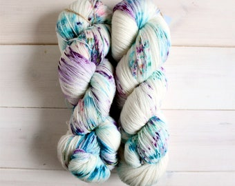Indie dyed yarn - Pixelated Unicorn lace hand dyed yarn - lace weight yarn - geeky yarn - unicorn yarn - rainbow yarn - speckled lace yarn