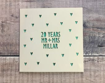 Personalised 20th Anniversary Card, 20 Years, China, Anniversary Gift, Husband Anniversary, Wife, Lasercut, Handmade, Twentieth