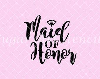 Maid of Honor stencil wedding design NB900542