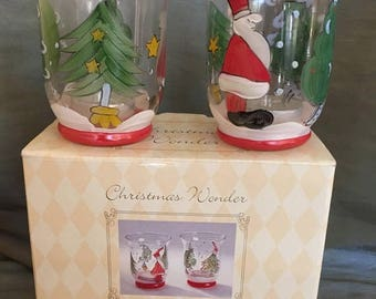 25% OFF SALE Vintage International Silver Co Christmas Wonder Glass Hand Painted Tea Light Candle Holders with Original Box Santa Christmas